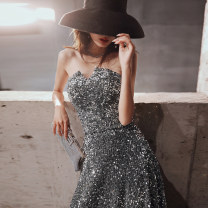 Dress / evening wear Party company annual meeting performance date XS S M L XL XXL Bf-1174 / Silver Korean version longuette middle-waisted Winter of 2019 Fall to the ground Chest type Bandage 18-25 years old YWR19274 Sleeveless Nail bead Solid color Yuwanru other Other 100% other Sequins