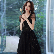 Dress / evening wear Weddings, adulthood parties, company annual meeting, performance date XS S M L XL XXL Korean version longuette middle-waisted Winter 2020 Fall to the ground Sling type Bandage 18-25 years old Sleeveless Nail bead Solid color Yuwanru other Other 100% Pure e-commerce (online only)