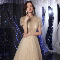 Dress / evening wear Weddings, adulthood parties, company annual meeting, performance date XS S M L XL XXL Champagne gold bf-1372-2 princess longuette middle-waisted Winter 2020 Fall to the ground stand collar Bandage 18-25 years old YWR20113 Short sleeve Nail bead Solid color Yuwanru Princess sleeve