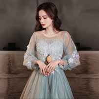 Dress / evening wear Wedding party company annual meeting performance date XS S M L XL XXL Lake blue 6042-4 grace longuette middle-waisted Spring 2021 Fall to the ground U-neck zipper 18-25 years old YWR20173 Long sleeves flower Solid color Yuwanru puff sleeve Other 100% Pure e-commerce (online only)