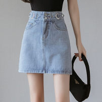 skirt Spring 2021 S M L XL blue Short skirt commute High waist A-line skirt Solid color Type A 18-24 years old YXD2021168007 More than 95% Denim Yixiang Butterfly other pocket Other 100% Pure e-commerce (online only)