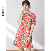 Dress Summer 2021 gules S M L XL Mid length dress singleton  Short sleeve street Crew neck Loose waist Decor Socket A-line skirt Lotus leaf sleeve 30-34 years old Type A Binli / Binli printing More than 95% Crepe de Chine silk Mulberry silk 100% Pure e-commerce (online only) Europe and America