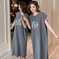 Nightdress Other / other M,L,XL,2XL motion Sleeveless Leisure home longuette summer Cartoon animation youth Crew neck cotton printing More than 95% pure cotton 200g and below