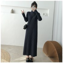 Dress Winter of 2019 S (80-95 kg), m (95-110 kg), l (110-130 kg), XL (130-150 kg) Mid length dress singleton  Long sleeves commute Half high collar Loose waist Solid color Socket One pace skirt routine Others 18-24 years old Type H Other Korean version 31% (inclusive) - 50% (inclusive) knitting nylon