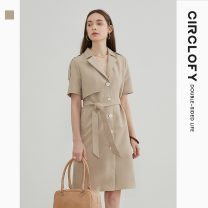 Dress Summer 2021 Khaki solid black 155/80A/S 160/84A/M 165/88A/L Mid length dress singleton  Short sleeve commute tailored collar High waist Solid color Single breasted A-line skirt shirt sleeve Others 25-29 years old Type A circlofy Retro Lace up button CNEB420049 71% (inclusive) - 80% (inclusive)