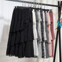 skirt Summer of 2019 commute High waist Irregular Decor Type A 51% (inclusive) - 70% (inclusive) Chiffon polyester fiber Korean version 201g / m ^ 2 (including) - 250G / m ^ 2 (including)