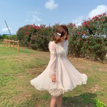 Dress Spring of 2019 Nude color S,M,L Middle-skirt Long sleeves Sweet V-neck High waist Solid color Big swing bishop sleeve 18-24 years old Type X More than 95% polyester fiber princess