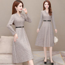 Dress Winter 2020 gules M L XL 2XL 3XL 4XL 5XL Mid length dress singleton  Long sleeves commute V-neck middle-waisted lattice Socket A-line skirt routine Others 35-39 years old Princess Cathy Korean version Lace up three dimensional decorative zipper printing LY-1491 More than 95% polyester fiber