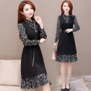 Dress Winter of 2019 Black Brown M L XL 2XL 3XL 4XL Mid length dress Two piece set Long sleeves commute Scarf Collar middle-waisted other Socket A-line skirt routine Others 35-39 years old Princess Cathy Korean version Lace up printing LZ-373 More than 95% polyester fiber Other polyester 95% 5%
