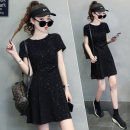 Dress Summer 2021 black S M L XL Mid length dress singleton  Short sleeve commute Crew neck High waist other Socket other routine 25-29 years old 72 changes / 72 transformer Korean version Bright silk More than 95% other Other 100% Pure e-commerce (online only)