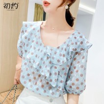 Lace / Chiffon Summer 2020 blue S,M,L,XL,2XL Short sleeve Versatile Socket singleton  Self cultivation Regular Crew neck Dot bishop sleeve 96% and above