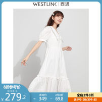 Dress Spring 2021 white S M L XL longuette singleton  Short sleeve commute V-neck other zipper Ruffle Skirt puff sleeve 25-29 years old Type A Westlink / Xiyu Simplicity More than 95% cotton Cotton 100% Same model in shopping mall (sold online and offline)