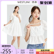 Dress Spring 2021 White (dress) white (coat) S M L XL Mid length dress singleton  Short sleeve commute square neck Solid color Socket Cake skirt puff sleeve 25-29 years old Type H Westlink / Xiyu lady chain More than 95% cotton Cotton 100% Same model in shopping mall (sold online and offline)
