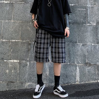 Casual pants Others Youth fashion thin Pant easy Travel? R16340 summer tide teenagers 2020 Medium high waist Straight tube Polyester 67% cotton 30.6% regenerated cellulose 2.4% Haren pants lattice Fashion brand R75 Plaid Shorts, G14 Plaid pleated skirt M,L,XL
