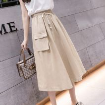 skirt Summer 2021 XL,L,M,S Black, Khaki Mid length dress commute High waist A-line skirt Solid color Type A 18-24 years old 51% (inclusive) - 70% (inclusive) polyester fiber Frenulum