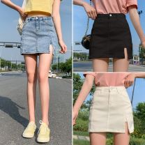 skirt Summer 2021 2XL,XL,L,M,S Black, blue, white Short skirt commute High waist A-line skirt Solid color Type A 18-24 years old Y123 51% (inclusive) - 70% (inclusive) other