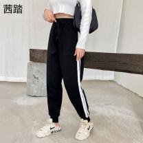 Women's large Spring 2021 black XL (suitable for 120-150 kg) 2XL (suitable for 150-170 kg) 3XL (suitable for 170-210 kg) trousers singleton  commute nylon Seta 25-29 years old pocket Viscose (viscose) 70% polyamide (nylon) 20% cotton 10% trousers