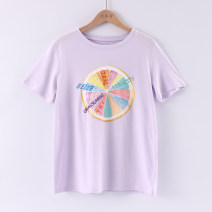 T-shirt Pink Purple S/155,M/160,L/165 Summer of 2019 Short sleeve Crew neck Straight cylinder Regular routine commute cotton 96% and above Korean version youth Plants and flowers Embroidery