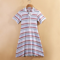 Dress Summer of 2019 Stripe blending S,M,L Mid length dress singleton  Short sleeve commute Polo collar High waist stripe Socket Type A Simplicity Lace, lace More than 95% cotton