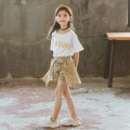 suit Yellow, red 110cm,120cm,130cm,140cm,150cm,160cm female summer Korean version Short sleeve + skirt 2 pieces routine There are models in the real shooting Socket nothing lattice cotton children Giving presents at school Class B Other 100% Chinese Mainland