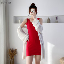 Dress Summer 2021 Dark grey brown light grey red black white S M L XL 2XL Mid length dress singleton  Sleeveless commute Crew neck High waist Solid color Socket other camisole 25-29 years old Cunhui Korean version backless 2021J81003 More than 95% cotton Exclusive payment of tmall