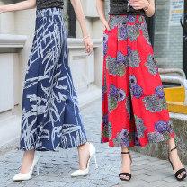 Casual pants Stripe, safflower, blue flower, black flower, white flower S [2 foot waist], m [2 foot 1 waist], l [2 foot 2 waist], XL [2 foot 3 waist], 2XL [2 foot 4 waist], 3XL [2 foot 5 waist] Summer of 2019 Ninth pants Wide leg pants High waist Versatile Thin money 51% (inclusive) - 70% (inclusive)
