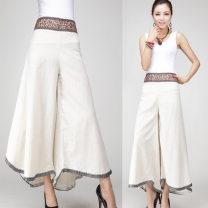 Casual pants Average size Summer 2020 trousers Wide leg pants High waist Sweet Thin money cotton cotton Bohemia