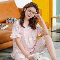 Pajamas / housewear set female Other / other M,L,XL,XXL Hemp cotton Short sleeve Sweet pajamas summer ultrathin V-neck Cartoon animation Three minutes of pants Socket youth 2 pieces rubber string More than 95% printing 200g and below
