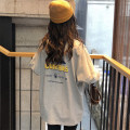 T-shirt Grey white black M L XL Spring of 2019 Long sleeves Crew neck easy Regular routine commute polyester fiber 51% (inclusive) - 70% (inclusive) 18-24 years old Korean version youth letter Feimu FM3845+ printing Polyester 65% Cotton 30% polyurethane elastic fiber (spandex) 5%