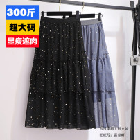 Women's large Summer 2020 Black, gray 2XL,3XL,4XL,5XL,6XL skirt Solid color polyester fiber 25-29 years old Sequins