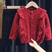 Sweater / sweater 90cm 100cm 110cm 120cm 130cm 140cm cotton female Red Khaki Lupine cat Korean version There are models in the real shooting Single breasted routine Crew neck nothing Ordinary wool Solid color Other 100% Long sleeves Spring 2021 spring and autumn Chinese Mainland