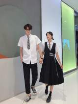 Dress Summer 2020 White shirt (regardless of men and women) get tie black vest skirt pants girls' suit (shirt + skirt) get tie boys' suit (shirt + pants) get tie S ml XL XXL XXL group size customization Mid length dress Two piece set Short sleeve commute square neck Loose waist Solid color Others