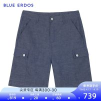 Casual pants blue erdos Youth fashion Dark blue thin Shorts (up to knee) Other leisure Straight cylinder summer youth 2020 Cotton 68% flax 32% Spring 2020 Same model in shopping mall (sold online and offline)