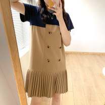 Dress Summer 2021 khaki M, L Middle-skirt Fake two pieces Short sleeve commute Crew neck Loose waist other double-breasted Pleated skirt routine 25-29 years old Type A DAILY MOOD Ol style 91% (inclusive) - 95% (inclusive) other cotton
