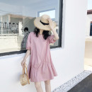 Dress Summer of 2019 M, L Mid length dress singleton  Short sleeve Sweet Crew neck Loose waist Solid color Socket A-line skirt bishop sleeve Others Type H DAILY MOOD 71% (inclusive) - 80% (inclusive) other cotton