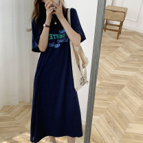 Dress Summer 2020 Navy blue, black Average size singleton  Crew neck middle-waisted Solid color DAILY MOOD 91% (inclusive) - 95% (inclusive) other