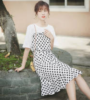 Dress Summer of 2019 S M L Mid length dress Fake two pieces elbow sleeve commute Crew neck Loose waist Dot Socket Ruffle Skirt routine 18-24 years old Type H Pachachi Korean version More than 95% polyester fiber Polyester 100% Pure e-commerce (online only)