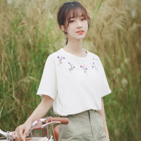 T-shirt Green white S M L Summer of 2019 Short sleeve Crew neck easy Regular routine commute cotton 86% (inclusive) -95% (inclusive) 18-24 years old Korean version classic Pure color of plants and flowers Pachachi 768-1 Embroidery Cotton 95% polyurethane elastic fiber (spandex) 5%