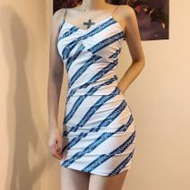 Dress Autumn 2020 blue S,M,L Short skirt singleton  Sleeveless commute V-neck High waist Decor Socket One pace skirt camisole 25-29 years old Type H KLALIEN printing D1738618 91% (inclusive) - 95% (inclusive) polyester fiber