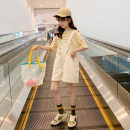 suit Merelcast Please don't make big collection with yellow foot code 120cm 130cm 140cm 150cm 160cm 170cm female summer Korean version Short sleeve + pants 2 pieces Thin money There are models in the real shooting Socket nothing stripe other children Expression of love A6158-1 Class B Other 100%