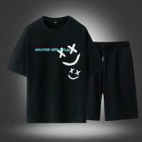 Leisure sports suit summer M L XL 2XL 3XL 4XL 5XL 6XL 7XL 8XL Htlb-c25 black Short sleeve TFU shorts youth T-shirt C25 cotton Summer 2021