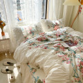 Bedding Set / four piece set / multi piece set cotton other Plants and flowers 133x72 Respect and love cotton 4 pieces 40 Bed skirt Qualified products Princess style 100% cotton twill Reactive Print
