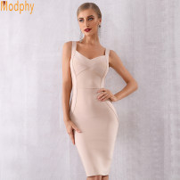 Dress Summer of 2019 XS,S,M,L Middle-skirt singleton  Sleeveless street One word collar High waist Solid color zipper One pace skirt routine camisole 25-29 years old Modphy / Murphy 91% (inclusive) - 95% (inclusive) brocade cotton Europe and America