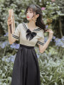 Dress Summer 2020 Rice white and black S,M,L Miniskirt Two piece set commute Admiral Solid color zipper routine Retro