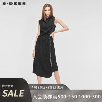 Dress Summer of 2019 Black / 91 S/160 M/165 L/170 XL/175 longuette singleton  Sleeveless commute Pile collar middle-waisted other other other 25-29 years old Type H s.deer Ol style More than 95% other other Viscose (viscose) 100% Same model in shopping mall (sold online and offline)
