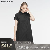 shirt Black / 91 S/160 M/165 L/170 XL/175 Summer of 2019 cotton 96% and above Short sleeve commute Medium length square neck other routine other 25-29 years old Straight cylinder s.deer Ol style S19260401 Cotton 100% Same model in shopping mall (sold online and offline)