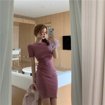 Dress Summer 2020 Hawthorn red, white lake green, elegant white, beautiful blue, romantic Bo Bo purple Average size Mid length dress singleton  Short sleeve commute Crew neck High waist Solid color Socket One pace skirt routine Others 18-24 years old Type H Other / other Korean version WN002799