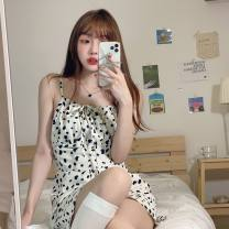 Dress Spring 2021 Cow dress Average size Short skirt singleton  Sleeveless One word collar High waist Zebra pattern Socket A-line skirt other camisole 18-24 years old Type A Other / other