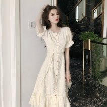 Dress Summer 2020 Apricot S,M,L Mid length dress singleton  Short sleeve square neck High waist Solid color Princess Dress other Others 18-24 years old Type A Other / other Lotus leaf edge
