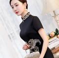 cheongsam Summer 2021 XXL,XXXL,M,L,XL,4XL,5XL black Short sleeve long cheongsam grace High slit banquet Round lapel other 25-35 years old Embroidery other 81% (inclusive) - 90% (inclusive)